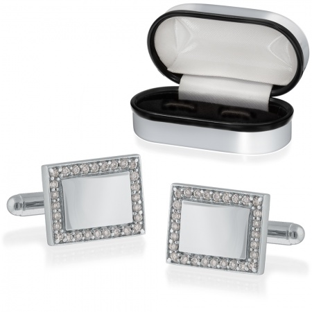 Cubic Zirconia Rectangle Cufflinks, 925 Sterling Silver (can be personalised)