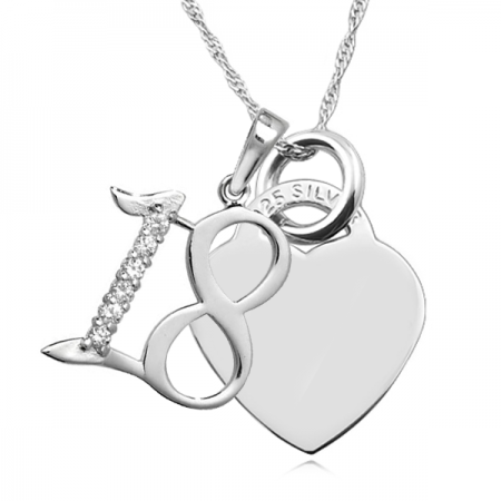 18th Birthday Heart Necklace, Free Engraving & Delivery, with Cubic Zirconia Number 18