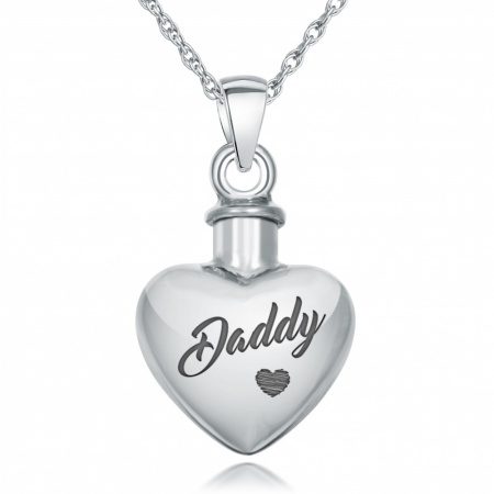 Daddy Heart Ashes Necklace, Personalised, 925 Sterling Silver