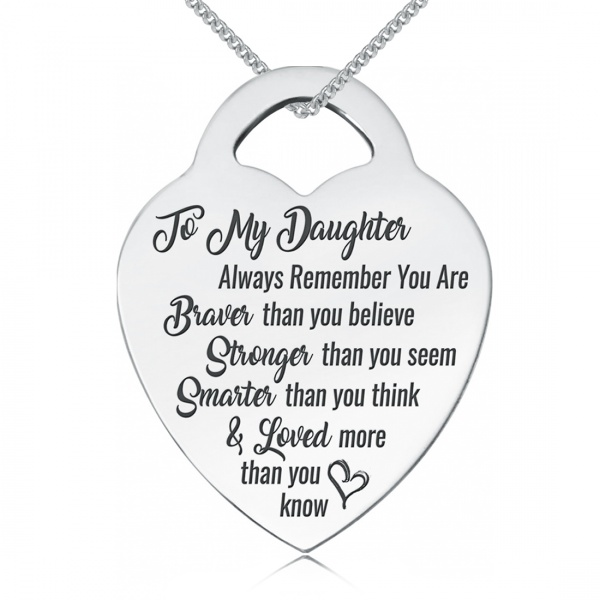 Daughter, You Are Braver, Stronger, Smarter & Loved Necklace, Personalised, 9ct White Gold