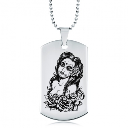 Day of the Dead Woman Dog Tag, Personalised, Stainless Steel
