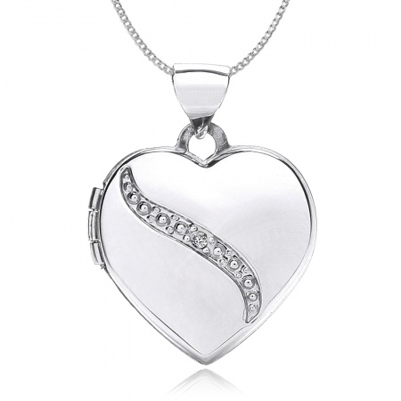 Diamond Heart 9ct White Gold Locket, Personalised / Engraved