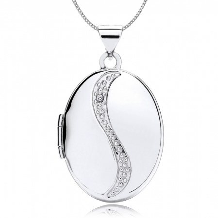 Diamond Swirl Locket, 9ct White Gold, Personalised, Engraved