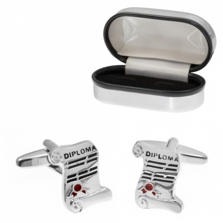 Diploma Graduation Cufflinks with Chrome Box (can be personalised)