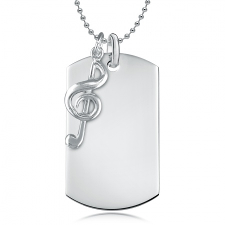 Dog Tag with Treble Clef - 925 Sterling Silver Personalised / Engraved