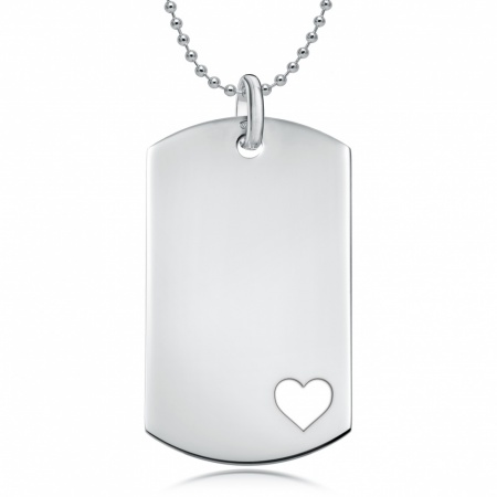 Cutout Heart Dog Tag, Personalised / Engraved, 925 Sterling Silver