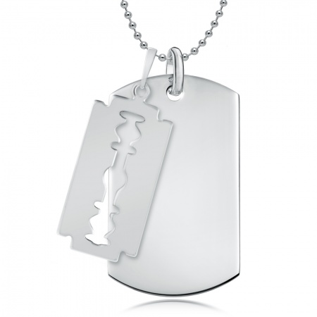 Razor Blade & Dog Tag Necklace, Personalised, 925 Sterling Silver