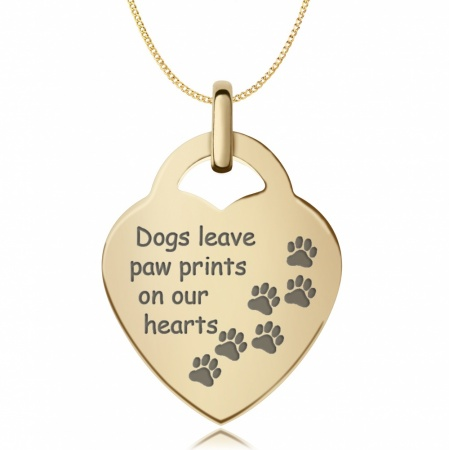 Dogs Leave Paw Prints Necklace, 9ct Gold, Personalised / Engraved