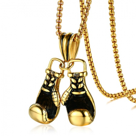Double Golden Boxing Gloves Necklace, with Personalised Engraving