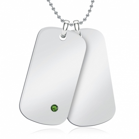 Double Emerald & Sterling Silver Hallmarked Dog Tags (can be personalised)