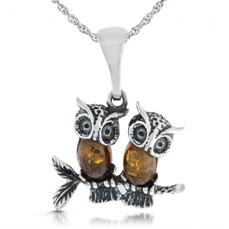 Amber & Sterling Silver Double Owl Necklace