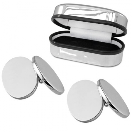 Double Sided Oval Hallmarked Sterling Silver Cufflinks (can be personalised)