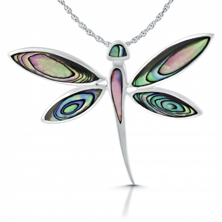 Dragonfly Necklace, Paua Shell & 925 Sterling Silver