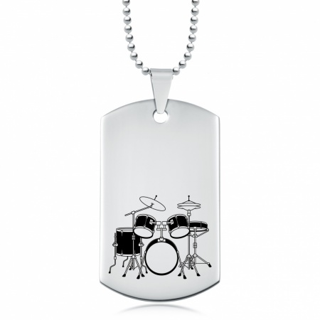 Drum Kit Dog Tag, Stainless Steel Personalised