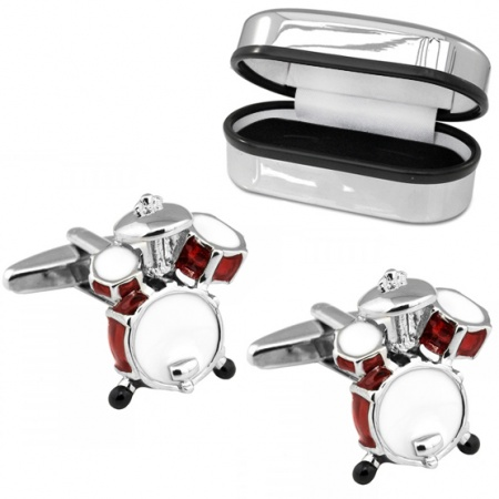 Drum Kit Cufflinks, Red with Chrome Box (can be personalised)