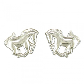 Galloping Horses Earrings, Studs, Sterling Silver