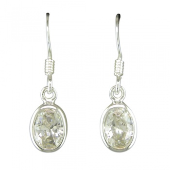 Oval Cubic Zirconia and Sterling Silver Drop Earrings