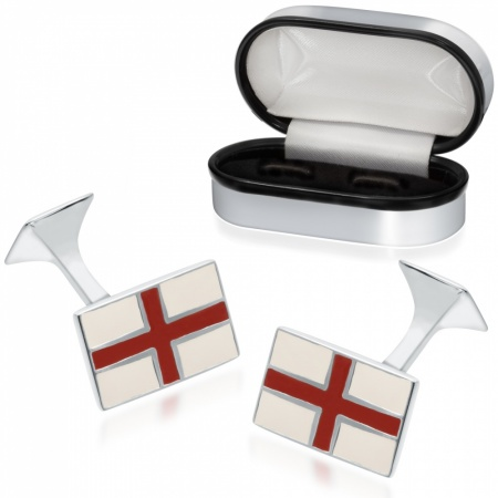 St George England Flag Sterling Silver and Enamel Cufflinks (can be personalised)