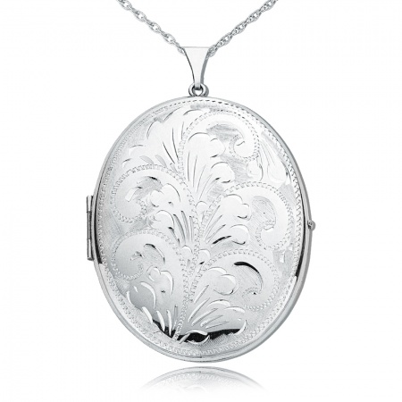 Extra Large Engraved Pattern Locket, Personalised / Engraved, 925 Sterling Silver