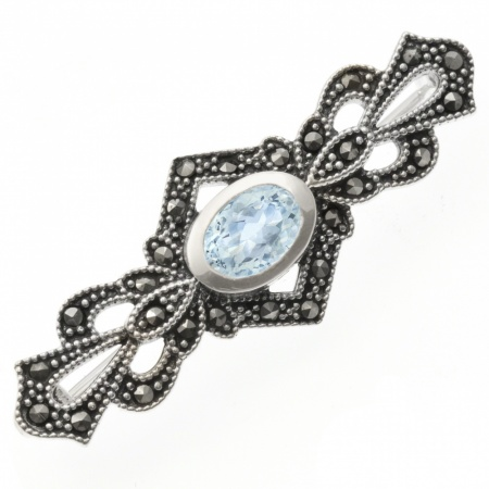 Fancy Sterling Silver, Marcasite & Blue Topaz Brooch