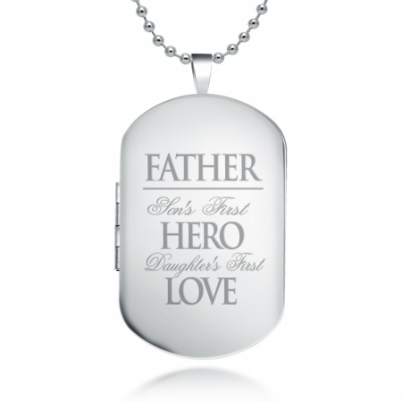 Father Sons First Hero Dog Tag Locket Necklace, 925 Sterling Silver (can be personalised)