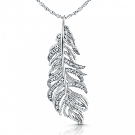 Feather Necklace, Cubic Zirconia & Sterling Silver