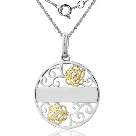 Filigree Flower Message Necklace, 925 Sterling Silver (can be personalised)