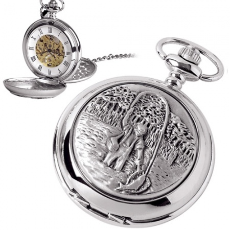 Fishing Pocket Watch, with Personalised Engraving, Mechanical Wind Up Movement