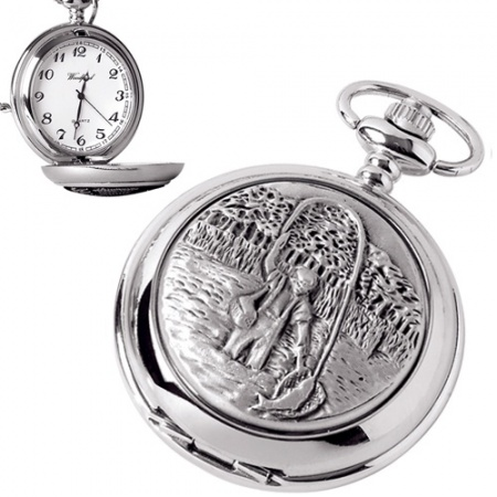 Fisherman Pewter Quartz Pocket Watch (can be personalised)