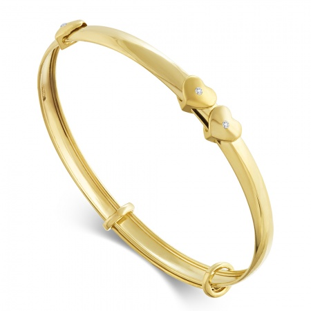 Floating Heart Baby Bangle, 9ct Gold, Personalised, Hallmarked