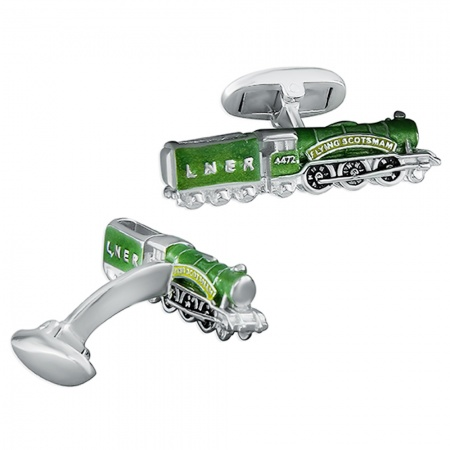 Flying Scotsman Train Cufflinks, Personalised Sterling Silver