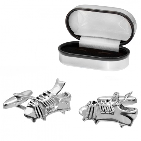 Football/Rugby Boot Sterling Silver Cufflinks (can be personalised)
