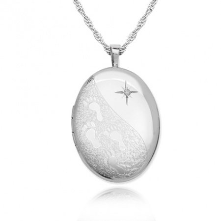 Footprints In the Sand Locket, Real Diamond & Sterling Silver