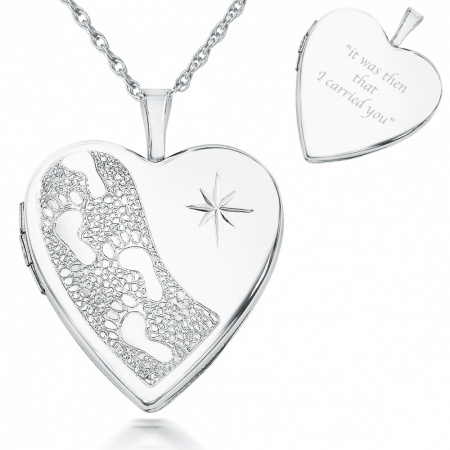 Footprints In the Sand Locket Heart Shaped, 925 Sterling Silver