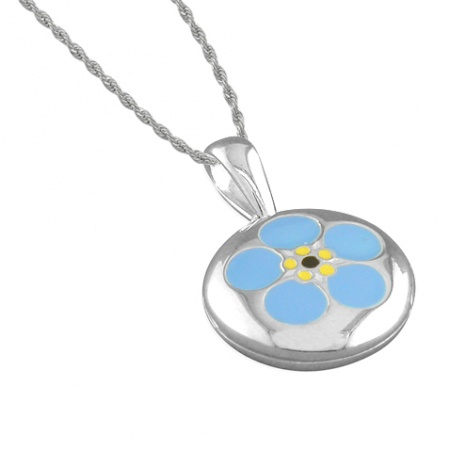 Girls Enamel Forget-Me-Not Flower Sterling Silver Locket Necklace by Pippa