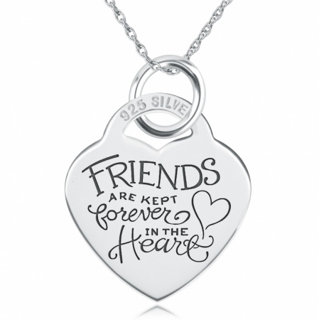 Friends Are Kept Forever In The Heart Necklace, Personalised, Sterling Silver