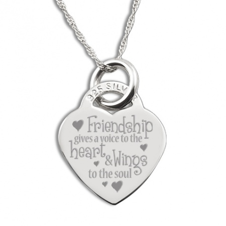 Friendship Gives A Voice To The Heart And Wings To The Soul Heart Shaped Sterling Silver Necklace (can be personalised)