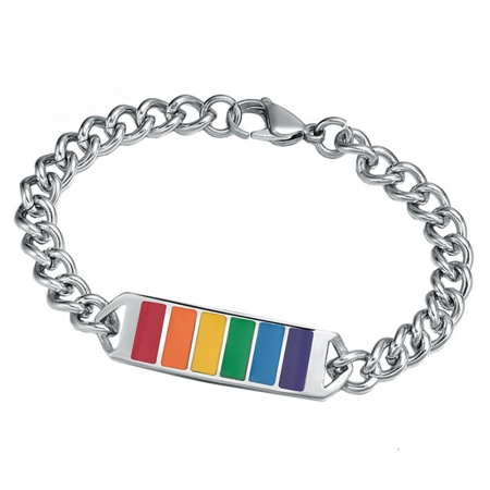 Gay Pride Rainbow ID Bracelet, Personalised/Engraved, Stainless Steel