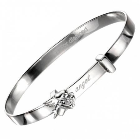 Girls Guardian Angel Sterling Silver & Diamond Bangle by D for Diamond (can be personalised)