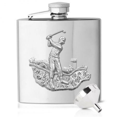 Golfer Hip Flask, Embossed, 6oz Stainless Steel (can be personalised)