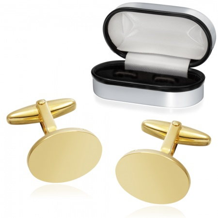 Plain Oval Cufflinks, Gold Plated, Personalised, 925 Sterling Silver