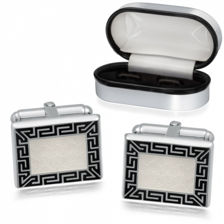 Greek Keyed Cufflinks, 925 Sterling Silver, Personalised