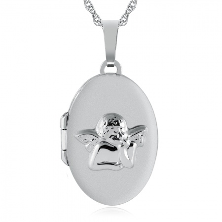 Guardian Angel Locket, Personalised, Sterling Silver
