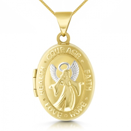 Guardian Angel Locket, 9ct Gold, Personalised / Engraved