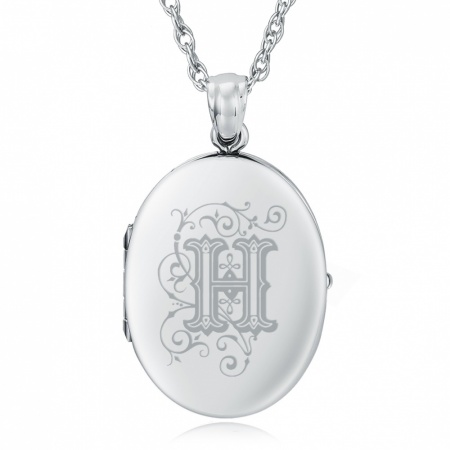 Initial/Letter H Sterling Silver 2 Photo Locket (can be personalised)
