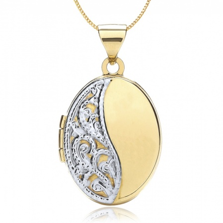 Half Embossed Locket, Personalised, 9ct Gold, Yellow and White
