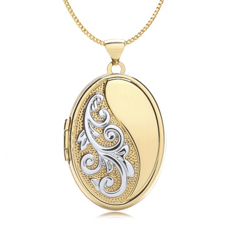 Half Embossed Scroll Locket, Personalised, 9ct Gold, Yellow & White