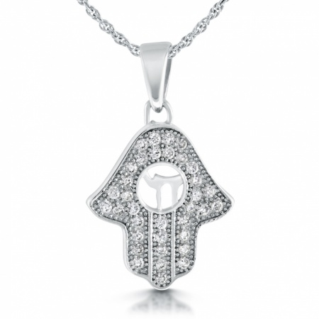 Hamsa Hand Necklace, with Chai, Cubic Zirconia & Sterling Silver