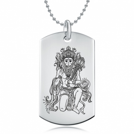 Hanuman Dog Tag Necklace, Personalised / Engraved, 925 Sterling Silver