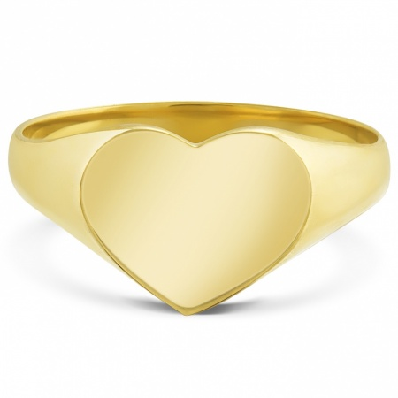 Ladies 9ct Gold Heart Signet Ring, Personalised, Yellow Gold, Hallmarked